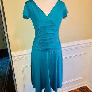 London Times Teal Ruched Stretch Dress 8